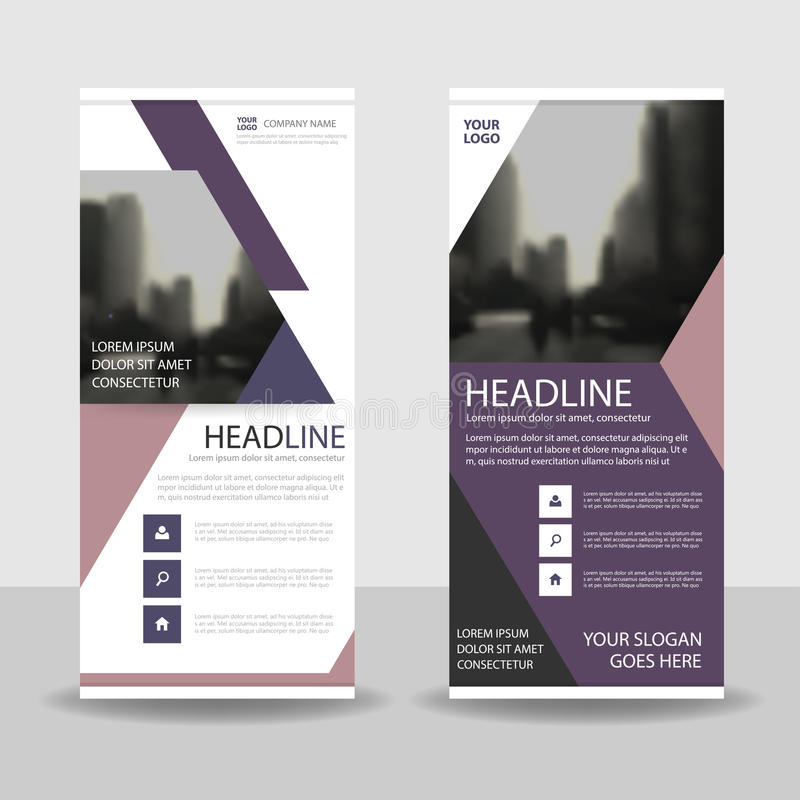 Purple pink triangle roll up business brochure flyer banner design , cover presentation abstract geometric background stock illustration