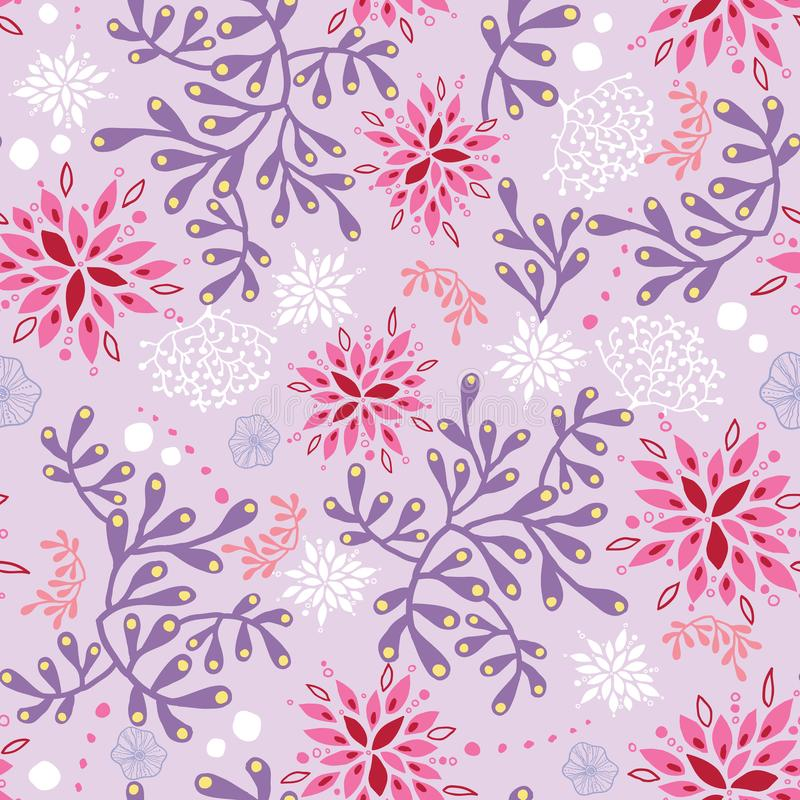 Purple and pink underwater seaweed pattern. Great for marine inspired fabric, invitations, wallpaper, giftwrap projects stock illustration