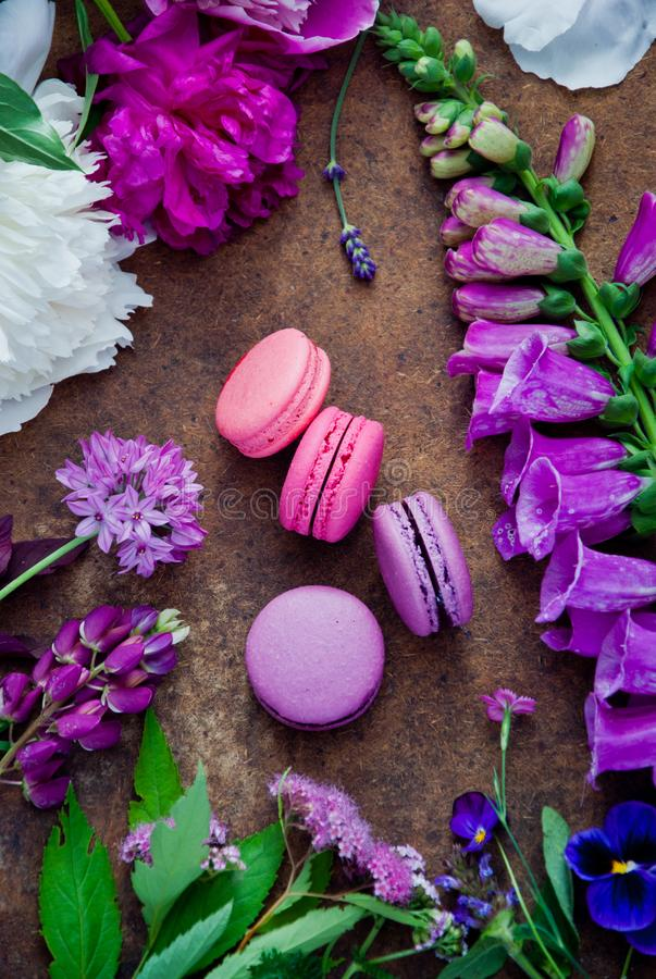 Purple and pink various flowers and Purple and pink macaroons royalty free stock photography