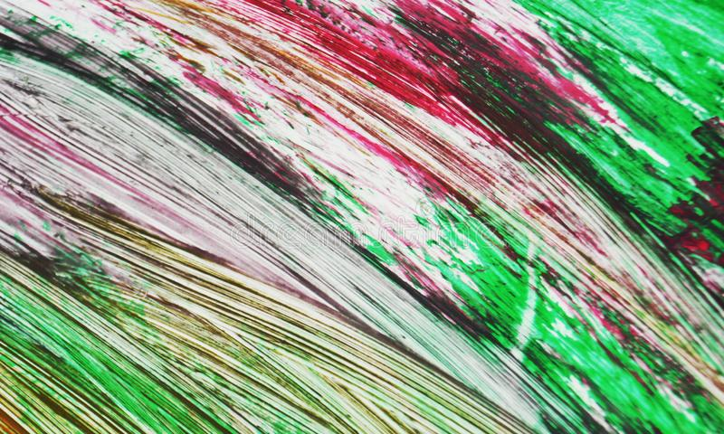 Pink green contrasting romantic painting watercolor background, abstract painting watercolor background. Purple pink white gray phosphorescent contrasting brush royalty free stock photos
