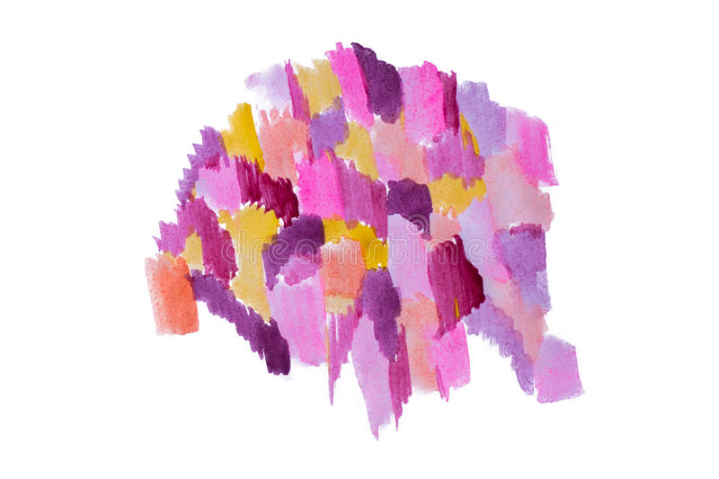Purple pink and yellow watercolor abstract. Handmade blot background isolated on white background stock images
