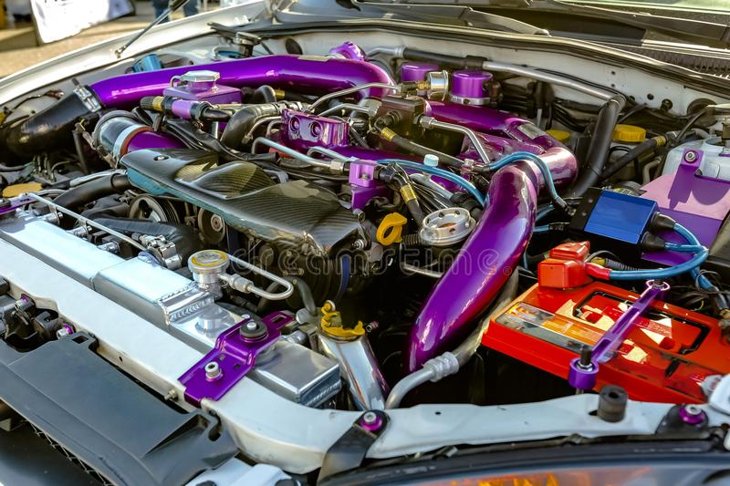 Purple Pipes Under The Hood Of Modern Car Stock Photo - Image of ...