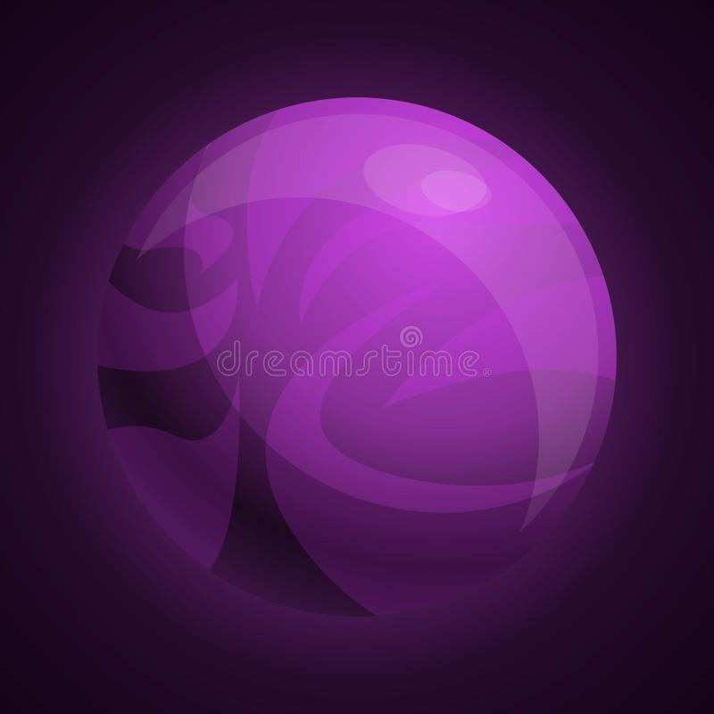 Purple planet icon, cartoon style stock illustration