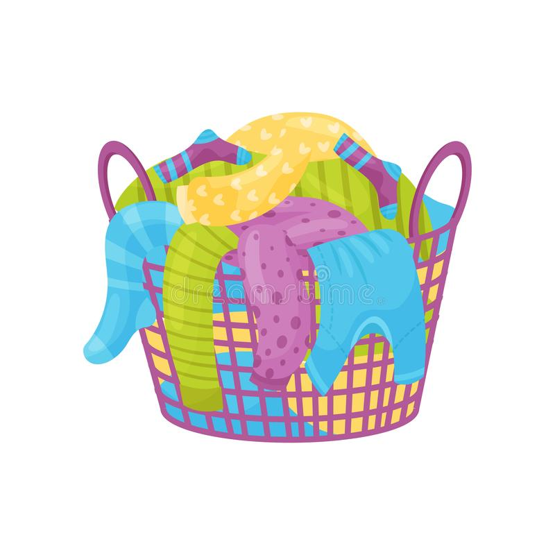 Purple basket with handles full of dirty laundry. Socks, t-shirts and sweaters for washing. Flat vector icon vector illustration