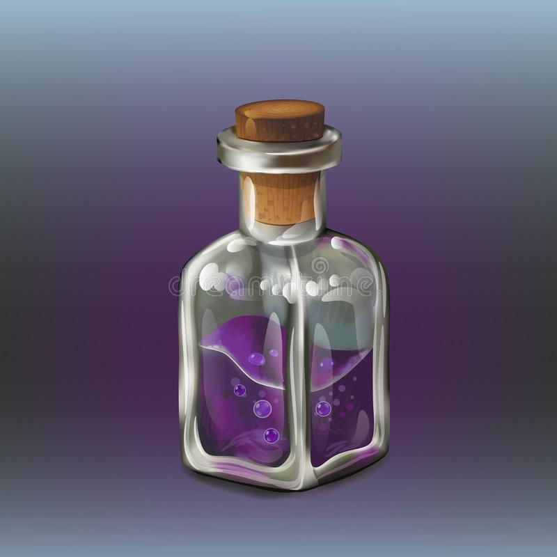 Purple poison bottle. Purple poison magic bottle. Cartoon style game icon vector illustration