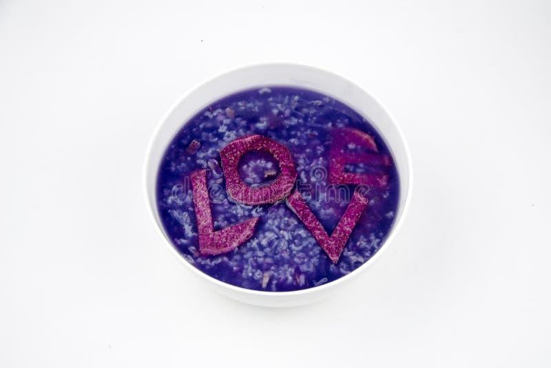 Purple potato porridge royalty free stock image