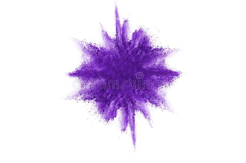 Purple powder explosion on white background. Colored cloud. Colorful dust explode. Paint Holi. stock illustration