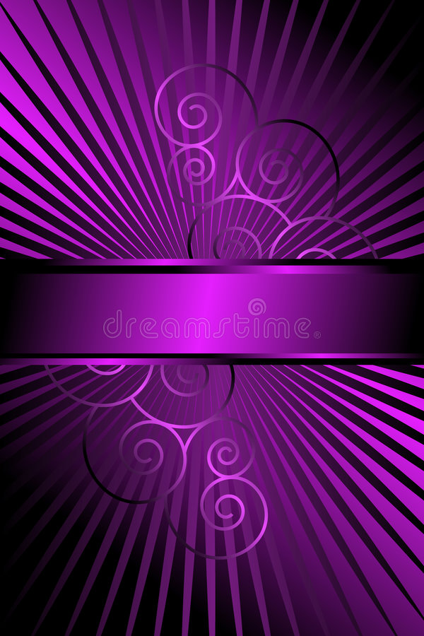 Purple Rays and Scrolls Abstract royalty free illustration