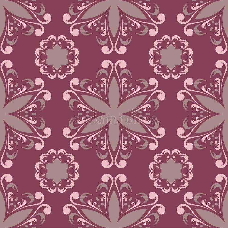 Purple red floral seamless pattern. Background with flower design elements stock illustration