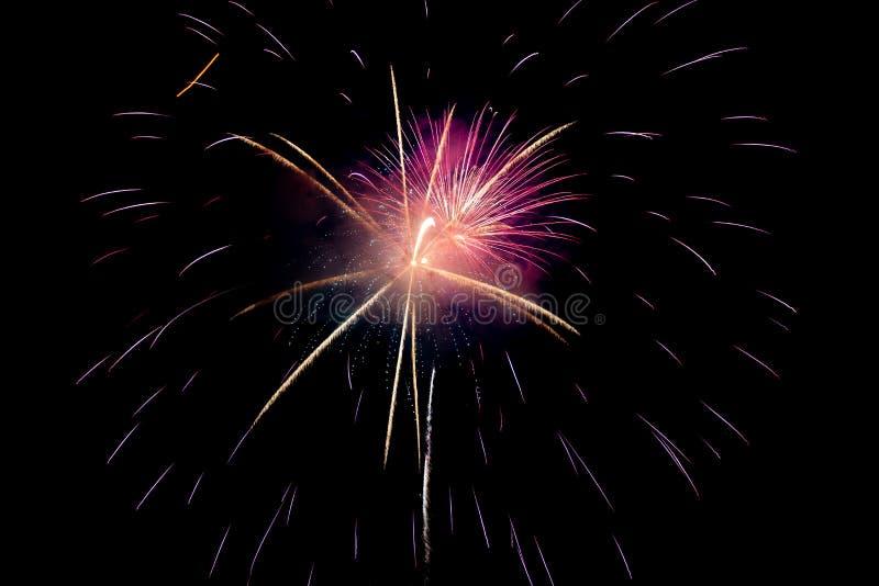 Purple Red Yellow Sparkling Fireworks Background op Night Scene royalty-vrije stock foto's