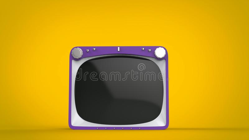 Purple retro style TV set on yellow background. Front view royalty free illustration