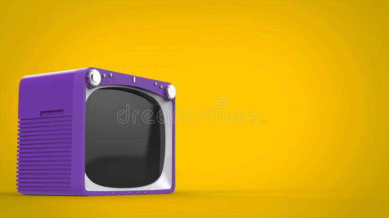 Purple retro style TV set on yellow. Background royalty free illustration