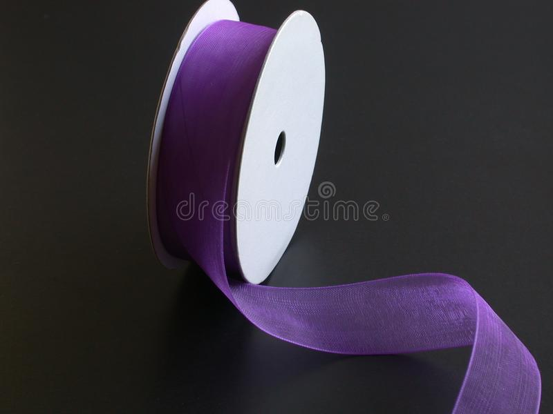 Download Purple Ribbon On A Black Background II Stock Image - Image: 3435