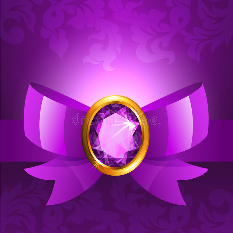 Download Purple ribbon and bow stock vector. Image of card, ornate - 29567411