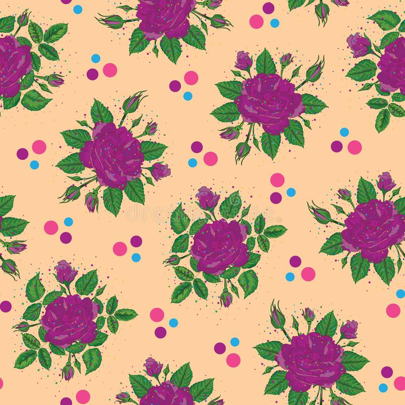 Purple rose bunches with spray paint dots effect seamless repeat pattern royalty free illustration