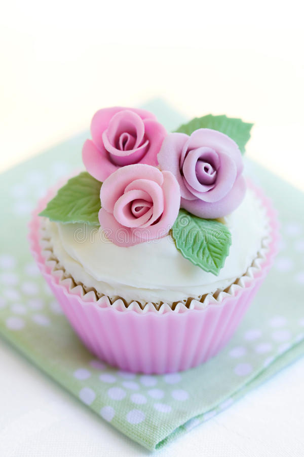 Download Purple rose cupcake stock image. Image of cream, flowers - 13300893