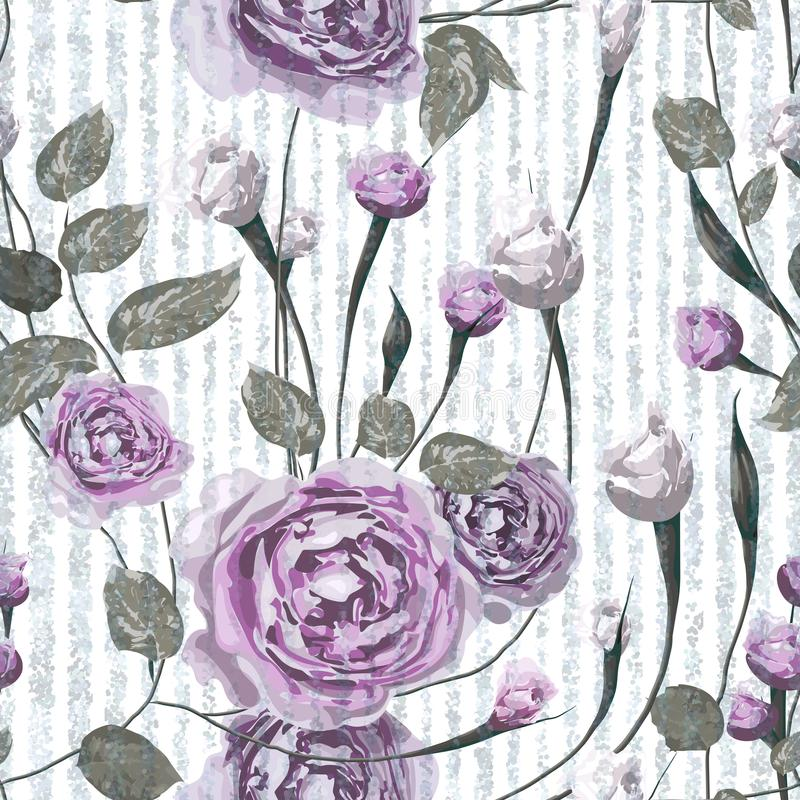Purple rose flowers with leaves on striped blue and white background. vector illustration