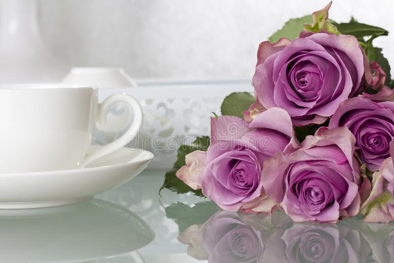 Purple Roses Bouquet royalty free stock photography