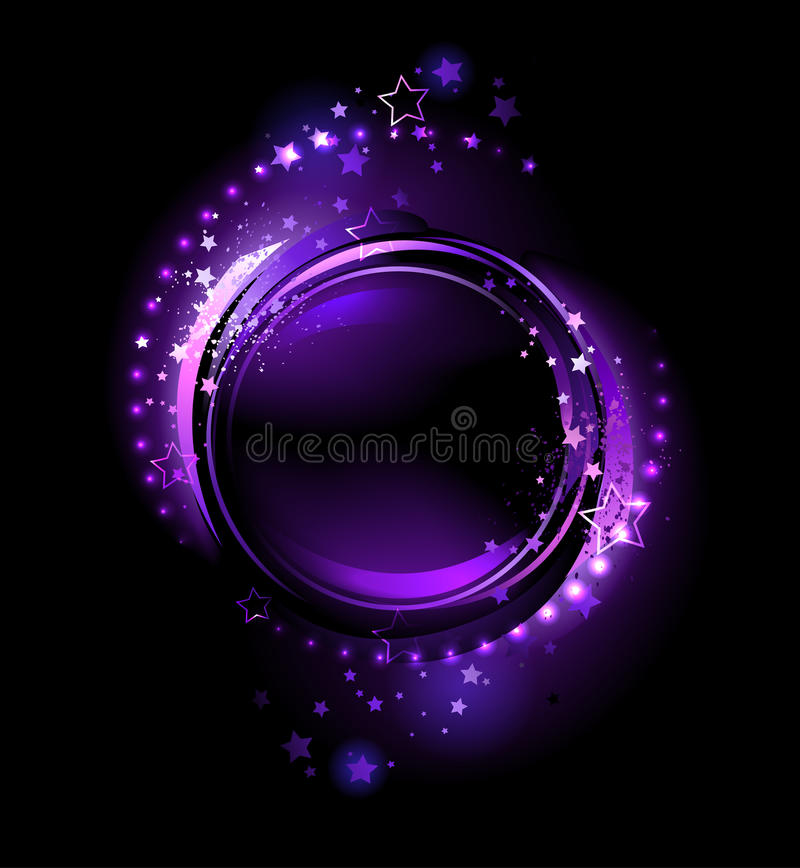 Purple round banner. purple, glowing , round banner , decorated with stars on a black background vector illustration