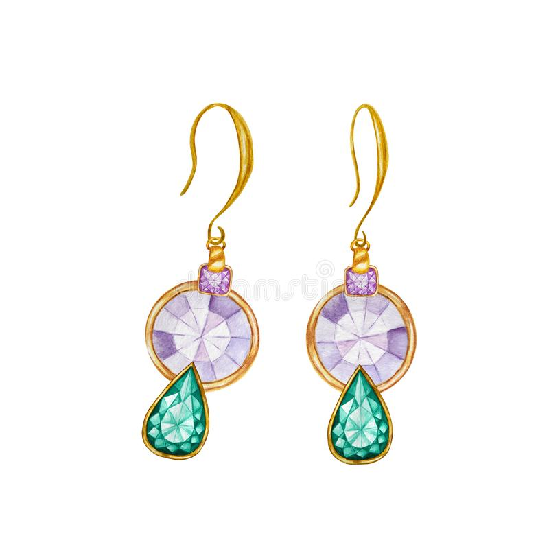 Purple round crystal and Green emerald drop gemstone. Beautiful jewelry set. Watercolor drawing Golden earrings with vector illustration