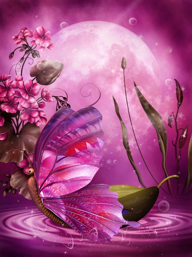 Purple scenery 1 stock illustration