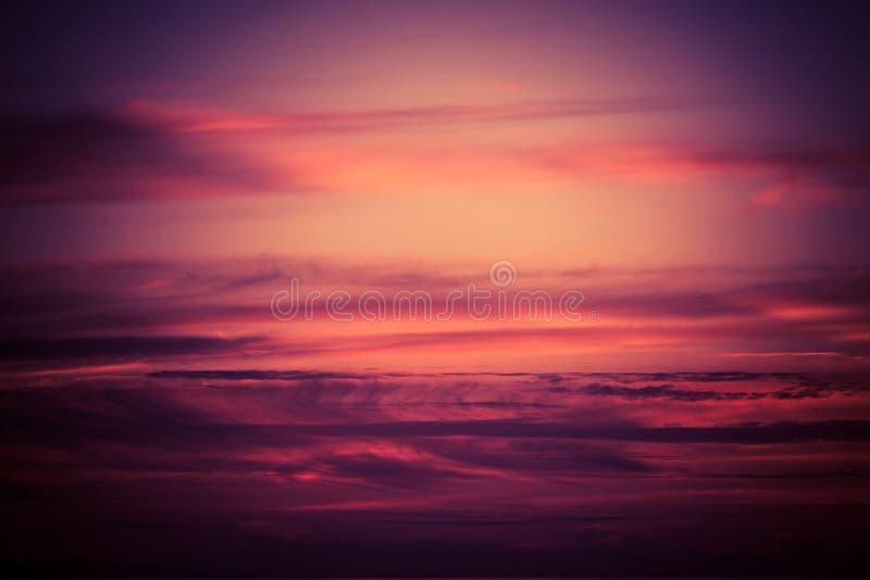 Purple Scenic Sunset Sky. Sunset Cloudscape Photo Background stock photos
