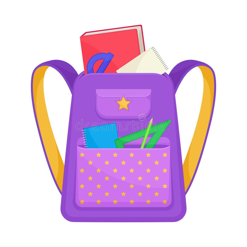 Purple school backpack with yellow stars on a large pocket. Vector illustration on a white background. Purple school backpack with yellow stars on a large vector illustration