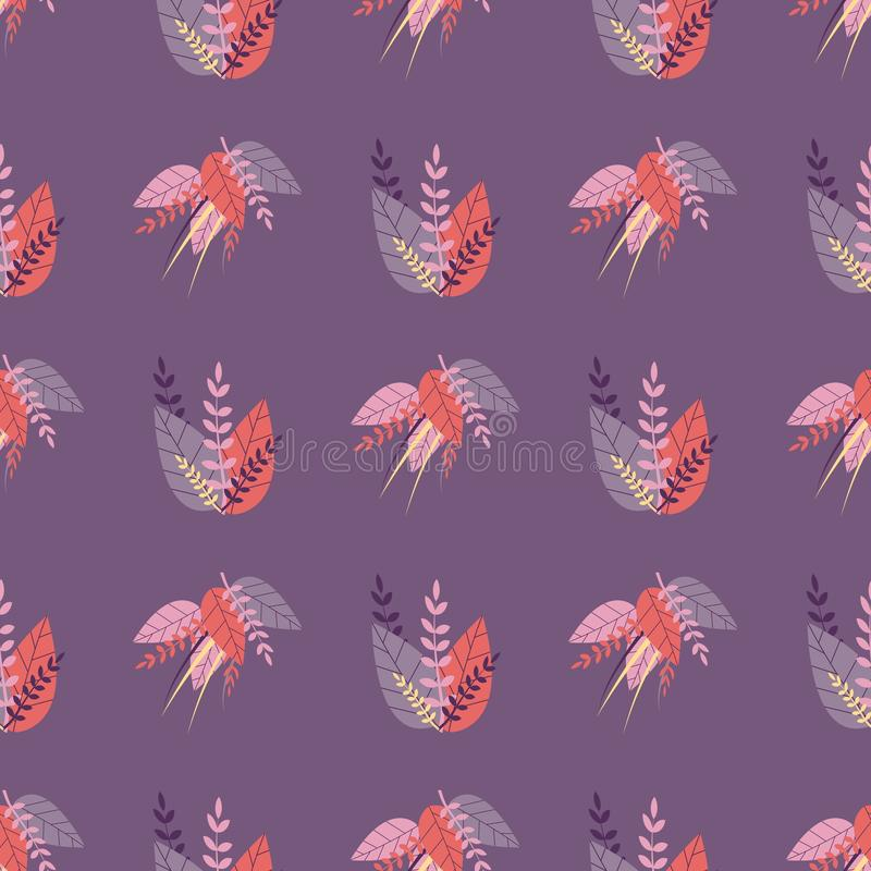 Purple Seamless Lovely Pattern in Herbal Style royalty free illustration