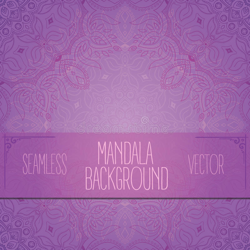 Purple seamless mandala vector royalty free stock photo