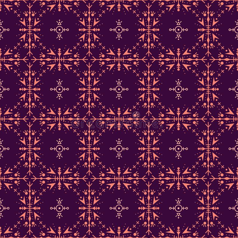 Purple seamless pattern with ethic tribal elements.  royalty free illustration