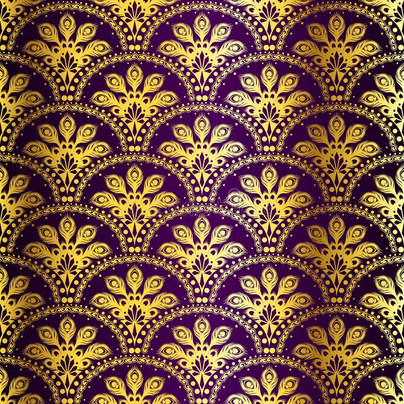 Free Purple Seamless Peacock Sari Pattern Stock Photography - 13339992
