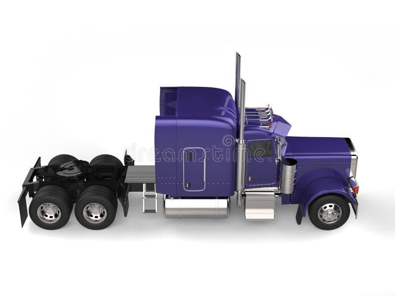 Purple semi trailer big long haul truck. Isolated on white background royalty free illustration