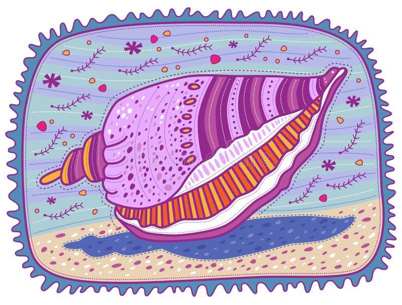 Purple shell. Lying on the sand on the seashore vector illustration