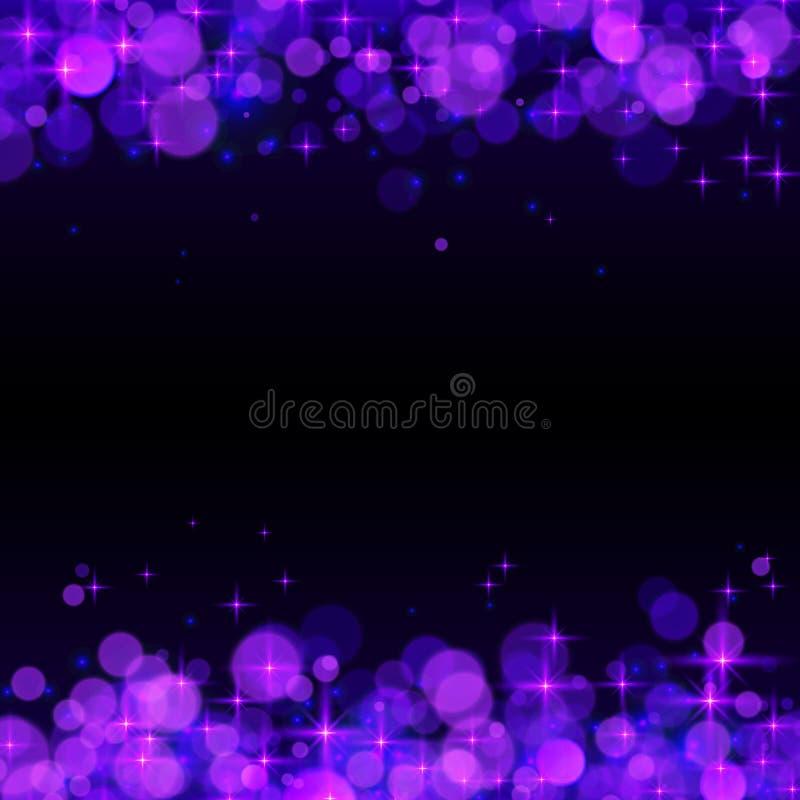Purple shining bokeh frame abstract background stock illustration