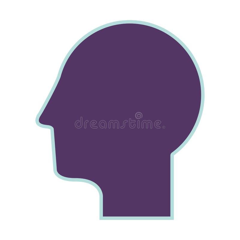 Purple silhouette profile head human vector illustration