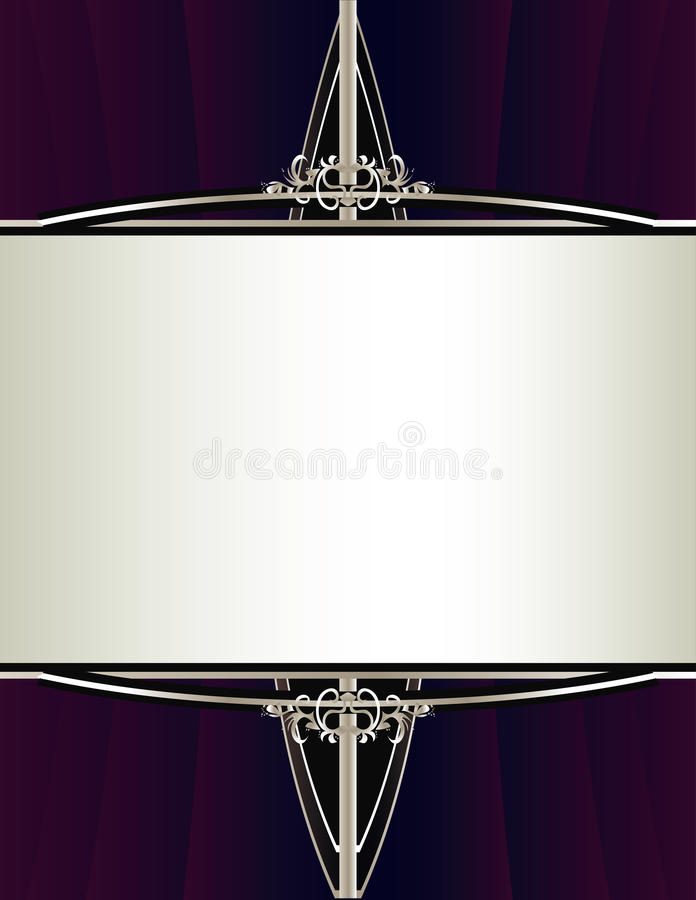 Purple silver background with rectangular frame stock illustration