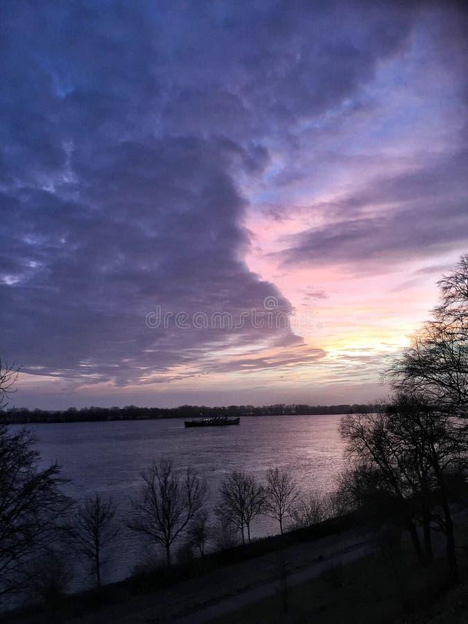 Purple Sky. At dusk royalty free stock photography