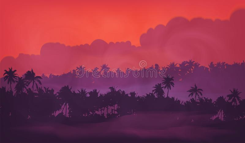Purple sky evening light with palm trees tropic forest silhouettes in fog, vector illustration banner background.  stock illustration