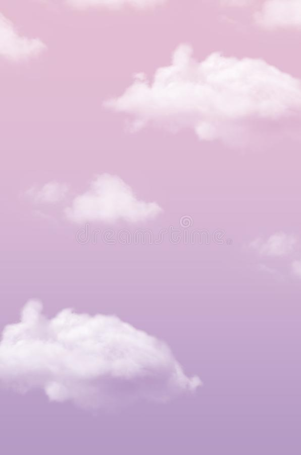 Purple sky with fluffy clouds with place for text royalty free stock photos