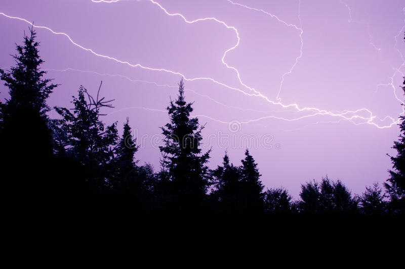 Download Purple Sky Lightning stock photo. Image of branched, rain - 33096356
