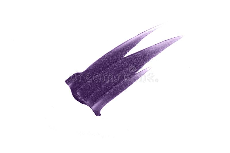 Purple smear of lipgloss.Beautifull shimmer texture.Isolated on white photography.Cosmetic concept. Purple heart smear of lipgloss.Beautifull shimmer texture stock image
