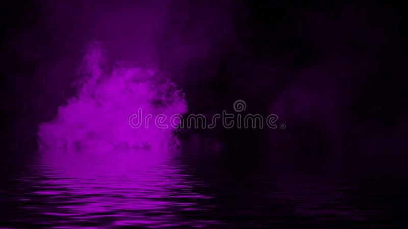 Purple smoke with reflection in water. Mistery fog texture background. Design texture royalty free stock photography
