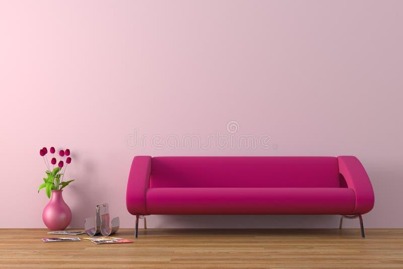 Purple sofa royalty free stock photos