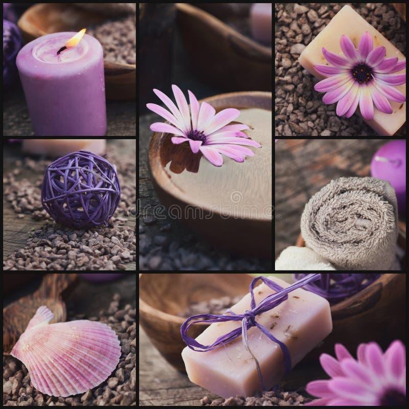 Purple spa collage stock photos