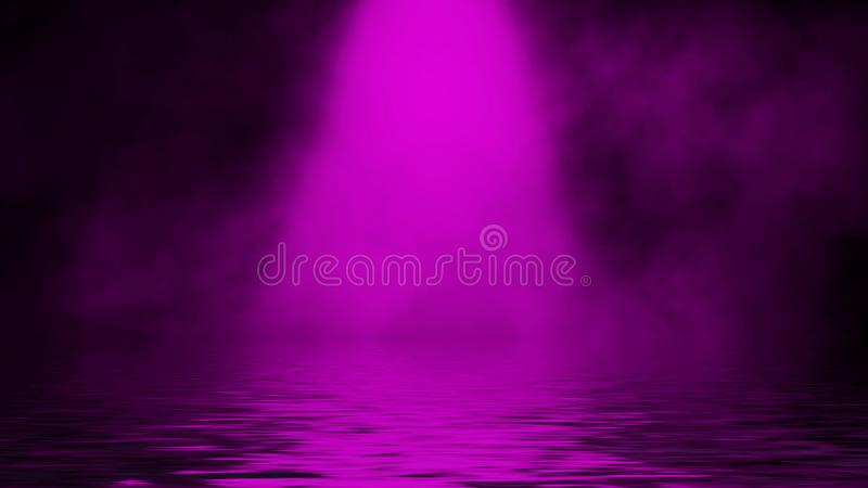 Purple spotlight smoke with reflection in water. Mistery fog texture background. Design element. Purple spotlight smoke with reflection in water. Mistery fog royalty free stock images