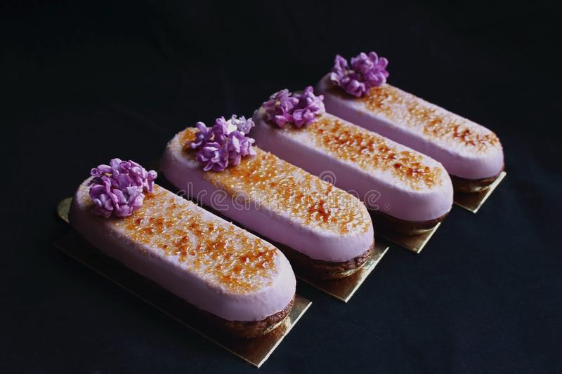 Purple spring Creme Brulee desserts with fresh lilac flowers isolated on black background stock images