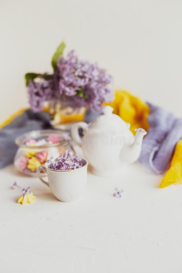 Purple spring lilac flowers  breakfast still life. Purple spring lilac flowers still life on white background in the morning. Tea-time or breakfast with black royalty free stock images