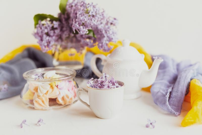 Purple spring lilac flowers  breakfast still life. Purple spring lilac flowers still life on white background in the morning. Tea-time or breakfast with black stock photography