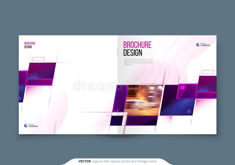 Purple Square Brochure Cover Template Layout Design Jaarverslag van bedrijven, catalogus, tijdschrift of flyer-mockup vector illustratie