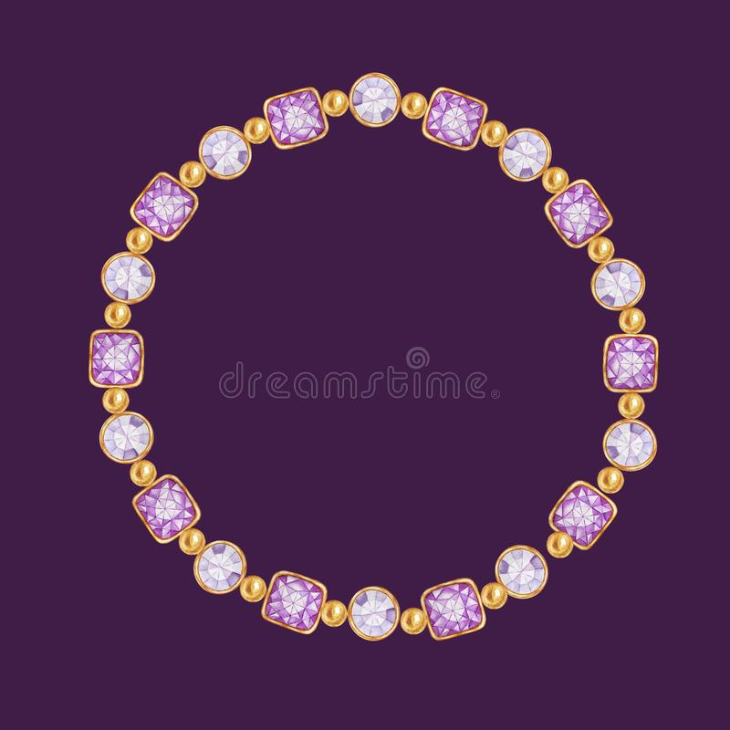 Purple square and round crystal gemstone with gold element frame. Beautiful jewelry bracelet. Bright Watercolor drawing stock illustration